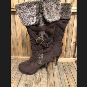 Rue21 Shoes - Rue21 brown suede fold over boots w fur top 8/9